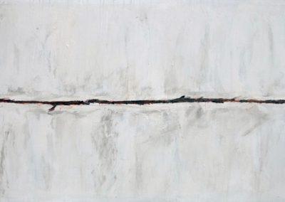 Serie COSMOS  ''Trayecto Marciano XXVIII''.   Mixta sobre lienzo  90x230 cm. Ref. #365-feb-15. Bienal Nacional, Museo de arte Moderno, Santo Domingo. RD