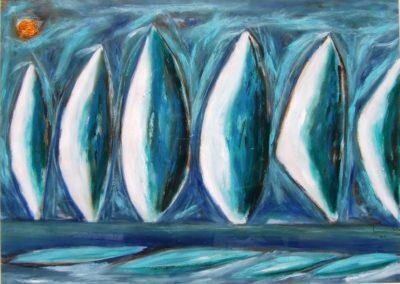 ''Velas y viento II''. Oleo sobre papel, 50x70 cm. Ref. #305-10. Paulo Estevao, Brazil graca Pereira